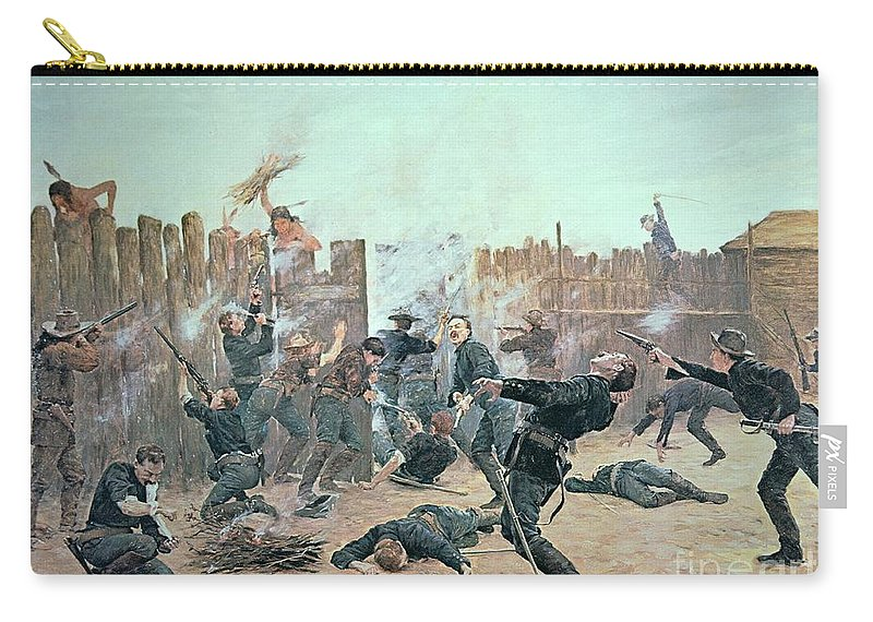 War Carry-all Pouch featuring the painting Defending The Fort by Charles Schreyvogel