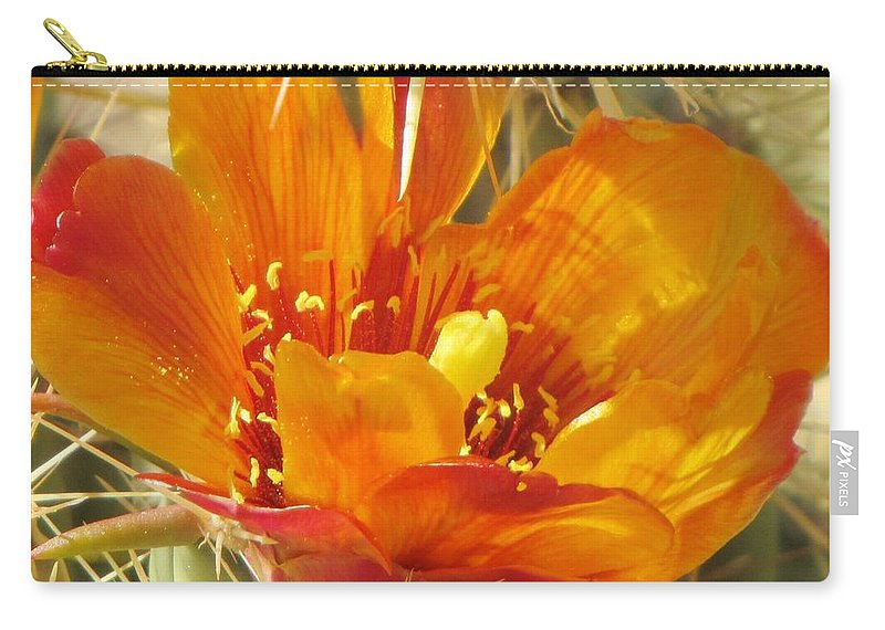 Cactus Flower Carry-all Pouch featuring the photograph Delicate Cactus Flower by Michelle Cassella