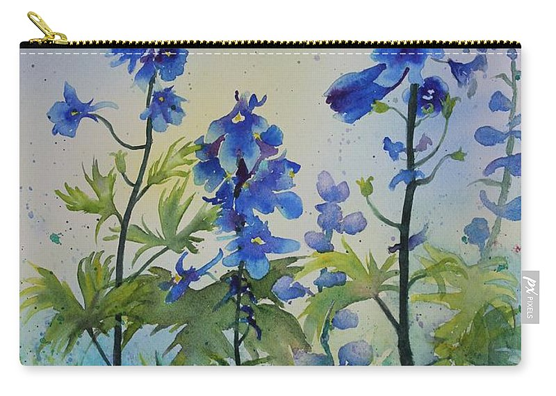 Blue Flowers Carry-all Pouch featuring the painting Delphiniums by Ruth Kamenev