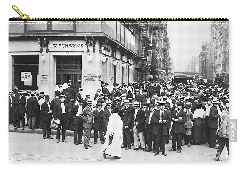 Historic Carry-all Pouch featuring the photograph Depositors Run On Failed Bank, Nyc by Photo Researchers