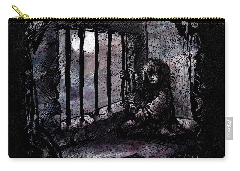 Deranged Carry-all Pouch featuring the painting Deranged by Rachel Christine Nowicki