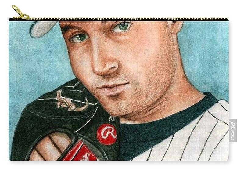 20ca7f985 Baseball Yankees Derek Jeter Bruce Lennon Portrait Carry-all Pouch  featuring the painting Derek Jeter