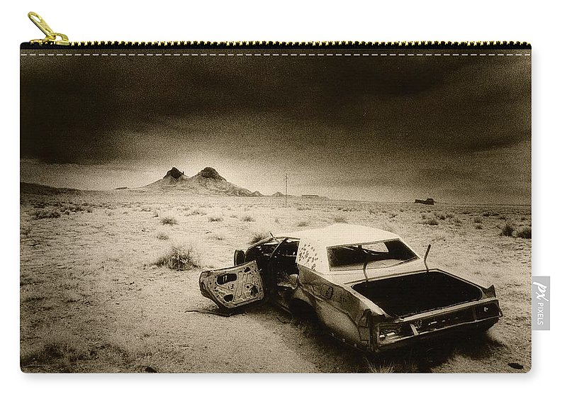 Car; Wreck; Abandoned; Lonely; Ghostly; Bullet Holes Carry-all Pouch featuring the photograph Desert Arizona Usa by Simon Marsden
