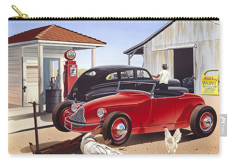 Adult Carry-all Pouch featuring the photograph Desert Gas Station by MGL Meiklejohn Graphics Licensing