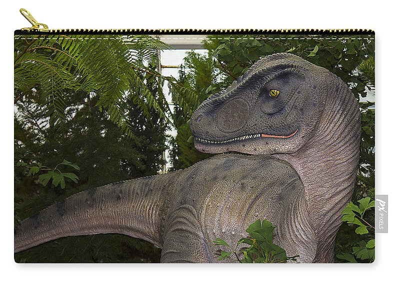 Allosaurus Carry-all Pouch featuring the photograph Dinosaur Inside The Conservatory by Garry Gay