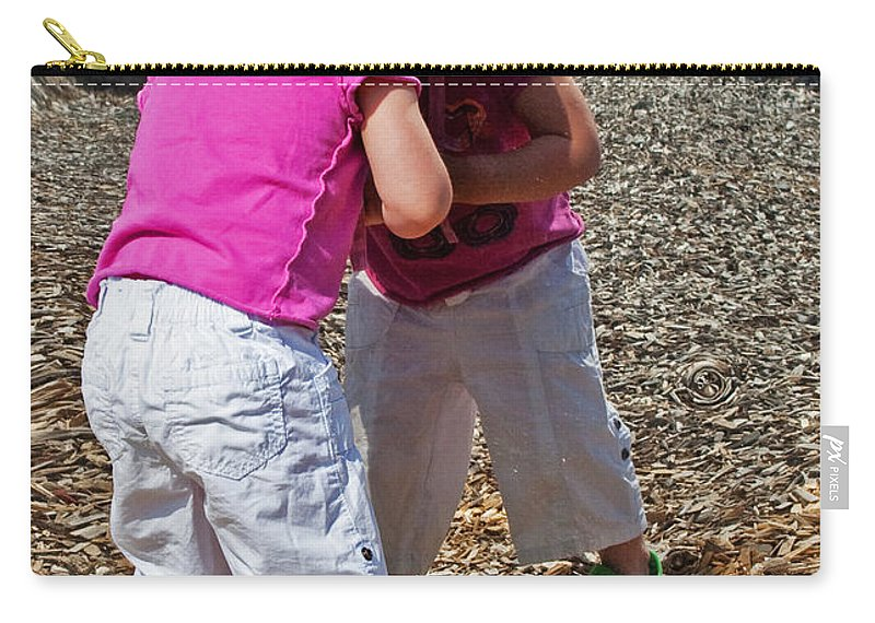 Child Carry-all Pouch featuring the photograph Discovering A Friend by Barbara McMahon