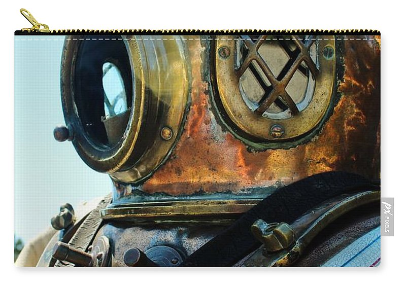 Dive Helmet Carry-all Pouch featuring the photograph Dive Helmet by Rene Triay Photography
