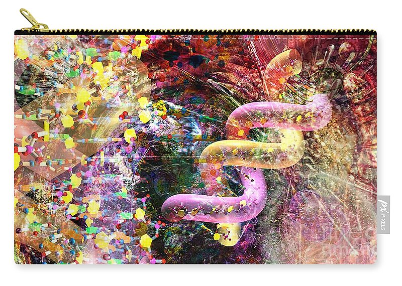Abstract Carry-all Pouch featuring the digital art Dna Dreaming 3 by Russell Kightley