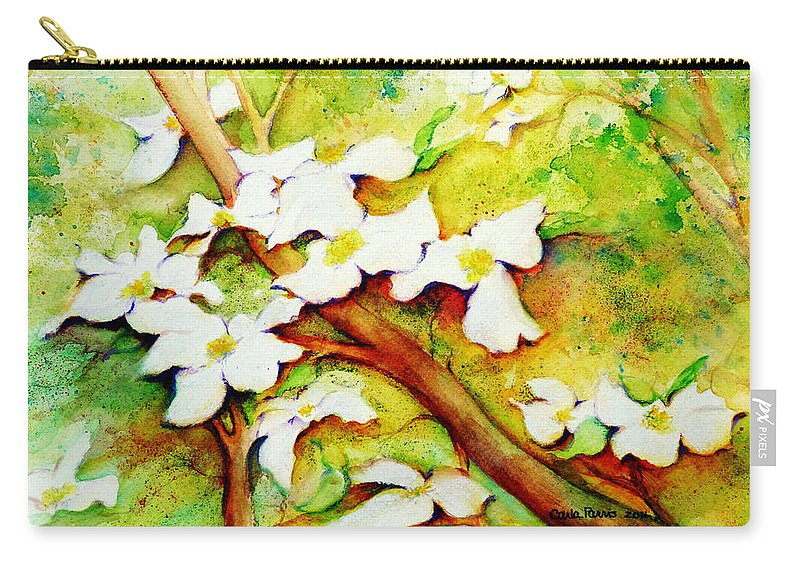 Dogwood Carry-all Pouch featuring the painting Dogwood Flowers by Carla Parris