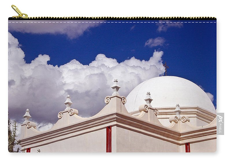 San Xavier De Bac Mission Carry-all Pouch featuring the photograph Dome Of The Mission San Xavier by Jon Berghoff