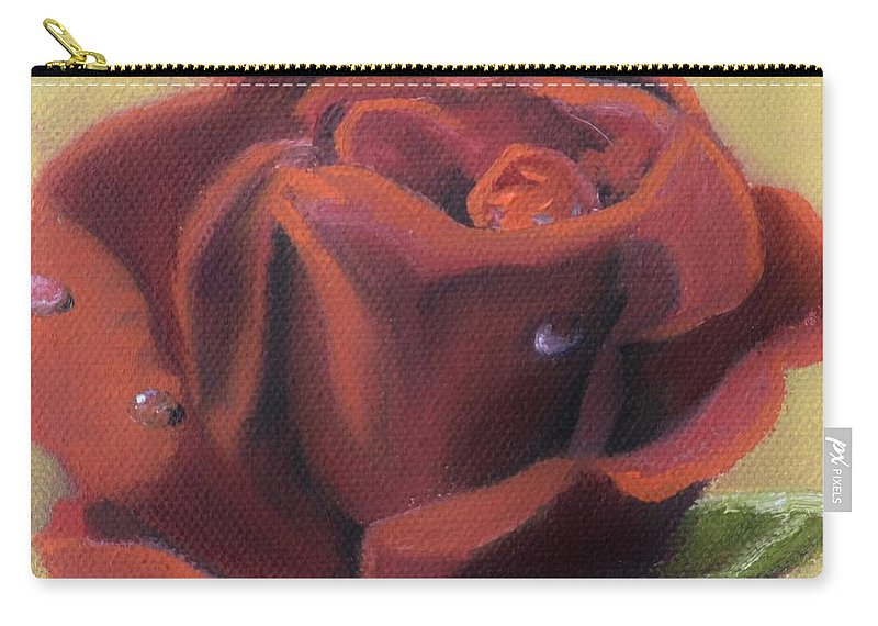 Rose Carry-all Pouch featuring the painting Doris's Rose by Donna Tuten