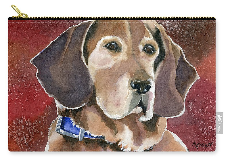 Dog Carry-all Pouch featuring the painting Dottie by Marsha Elliott