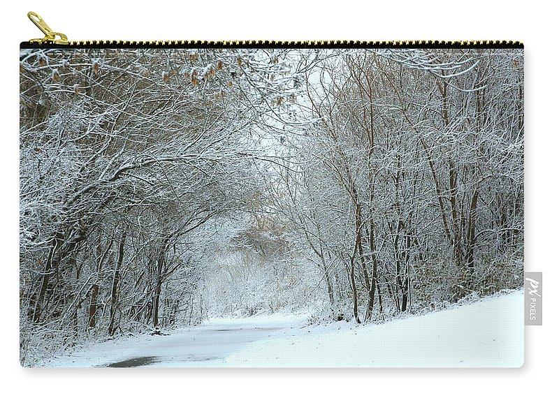 Winter Carry-all Pouch featuring the photograph Down A Winter Road by Laurel Talabere