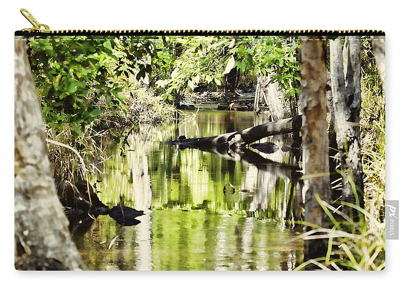 Water Carry-all Pouch featuring the photograph Downstream Reflections by Douglas Barnard