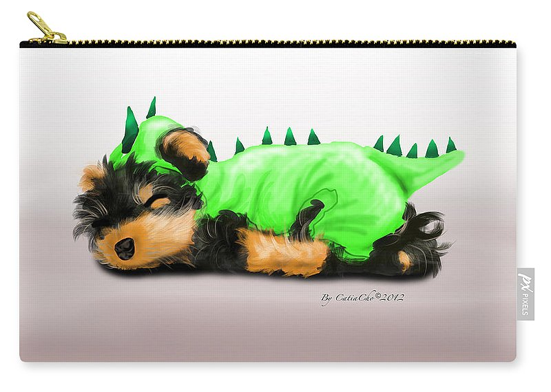 Dragon Carry-all Pouch featuring the mixed media Dragon Baby Yorkie by Catia Lee