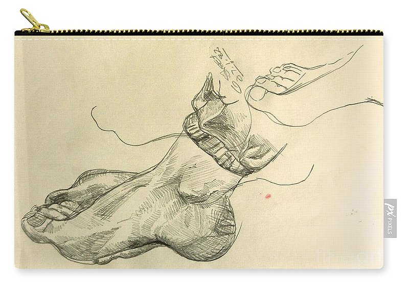 Feet Carry-all Pouch featuring the drawing Drawing Class. Feet by Caroline Street