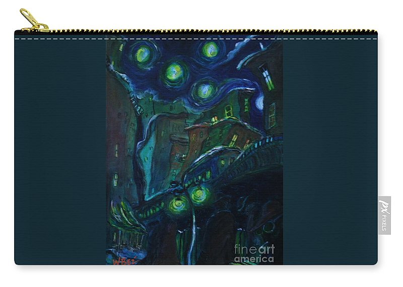Cityscapes Carry-all Pouch featuring the painting Dreamy City by William Bezik