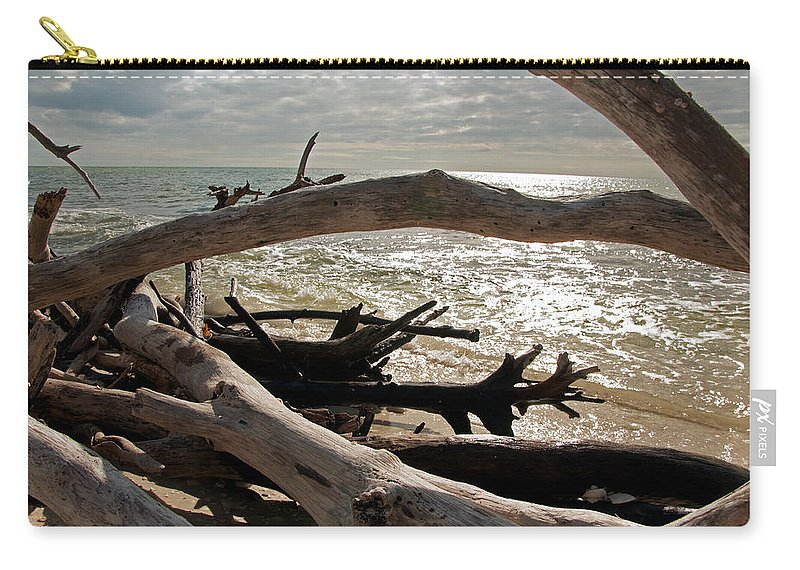 Driftwood Carry-all Pouch featuring the photograph Driftwood Jungle II by Christine Stonebridge