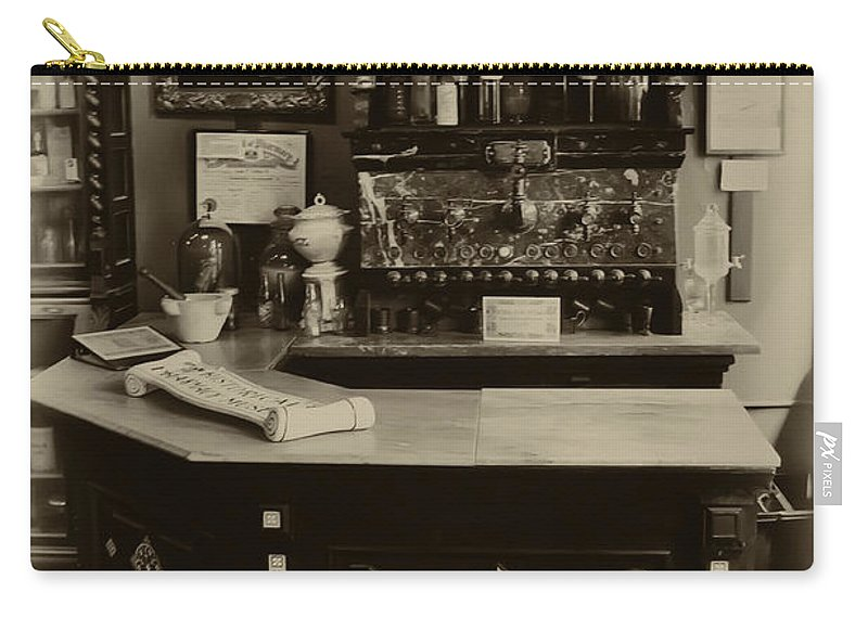 La Pharmacie Carry-all Pouch featuring the photograph Drugstore Soda Fountain - New Orleans by Bill Cannon