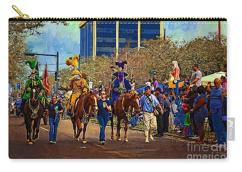 Mardi Gras Carry-all Pouch featuring the digital art Dukes Of Rex - Impasto by Kathleen K Parker