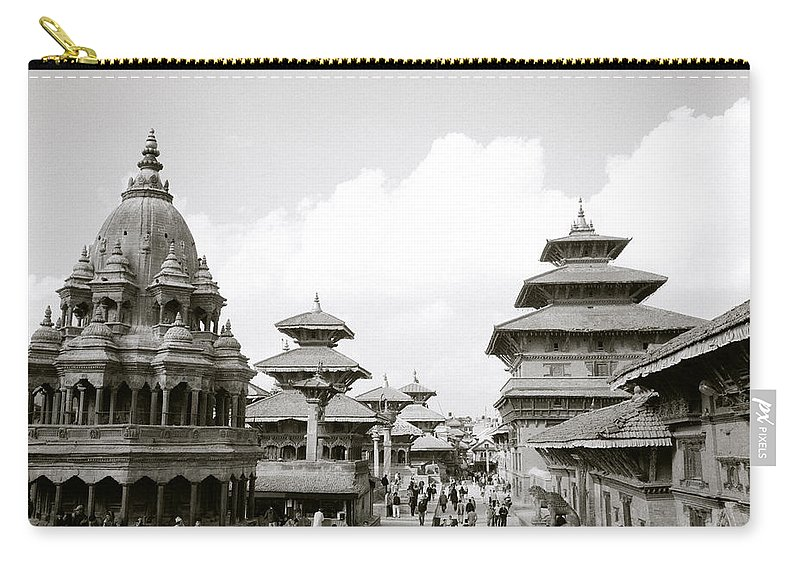 Black And White Carry-all Pouch featuring the photograph Durbar Square Patan by Shaun Higson