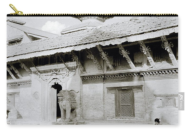 Black And White Carry-all Pouch featuring the photograph Durbar Square by Shaun Higson