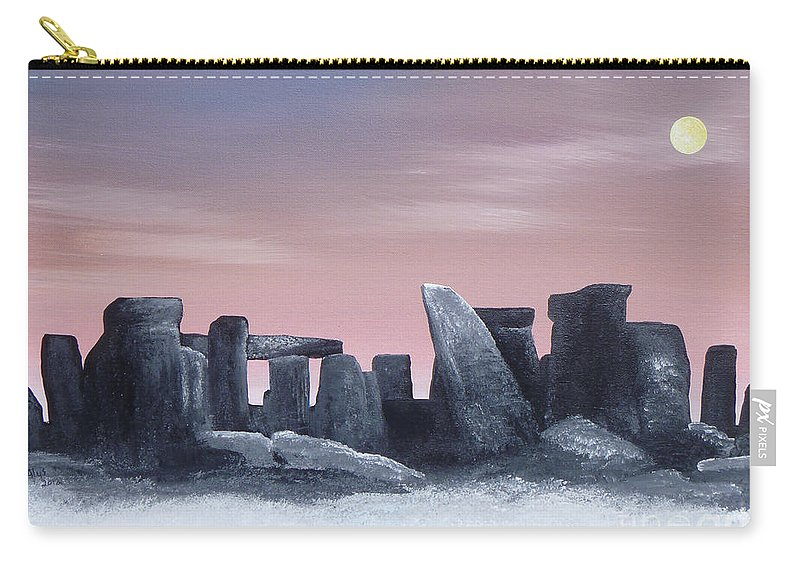Dusk Carry-all Pouch featuring the painting Dusk On The Winter Solstice At Stonehenge 1877 by Alys Caviness-Gober