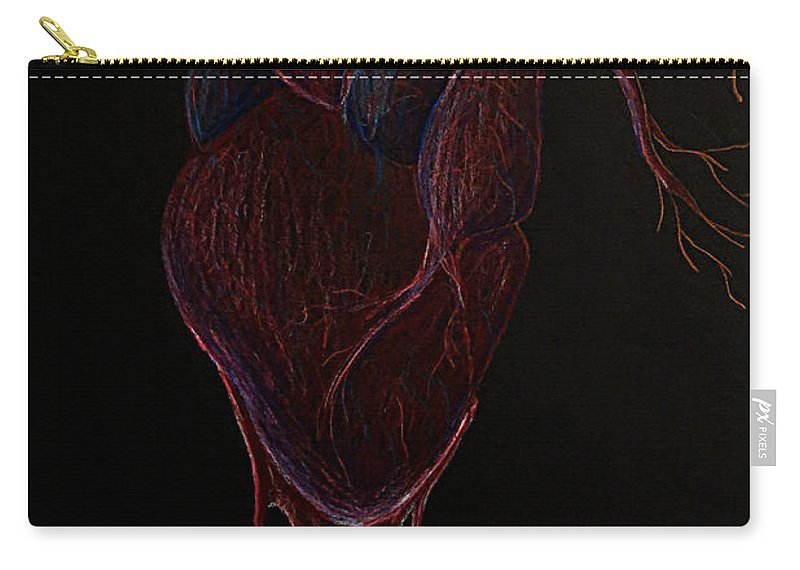 Heart Carry-all Pouch featuring the drawing Dying Heart by Elizabeth Harshman