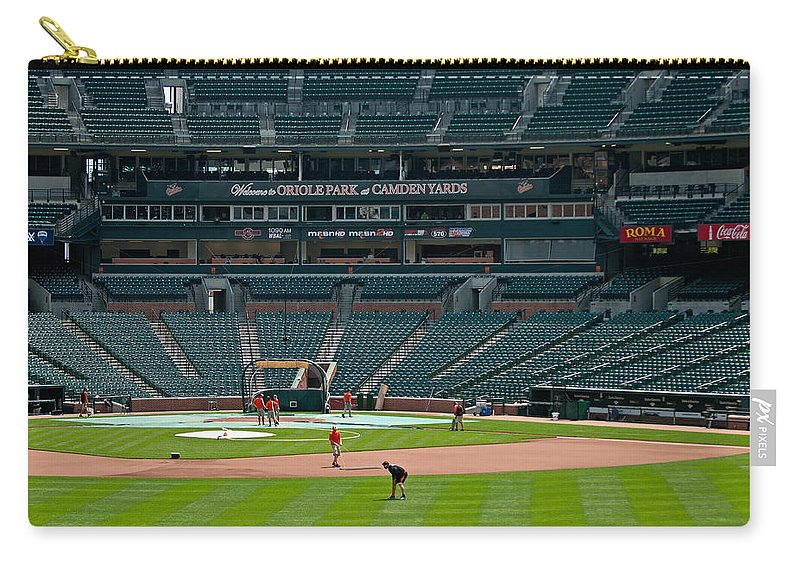 oriole Park Carry-all Pouch featuring the photograph Early Warm Up's From Left Center by Paul Mangold