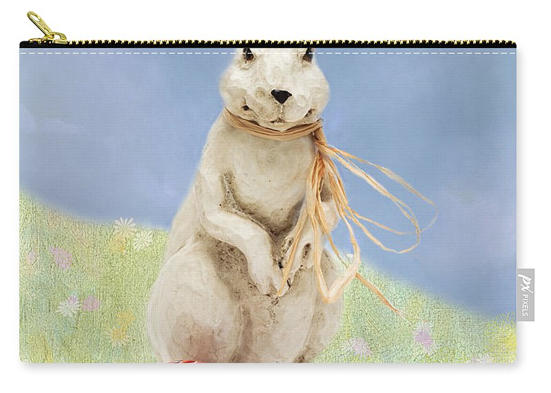 Easter Carry-all Pouch featuring the photograph Easter Bunny With A Painted Egg by Louise Heusinkveld