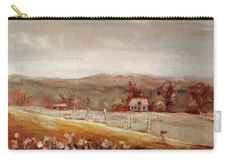 Landscape Carry-all Pouch featuring the painting Eastern Townships Quebec Painting by Carole Spandau