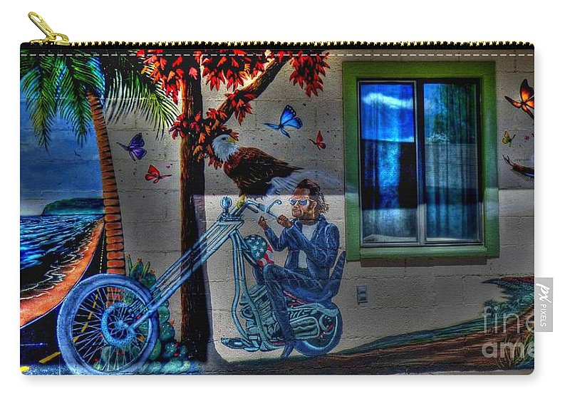Route 66 Carry-all Pouch featuring the photograph Easy Rider Mural Route 66 by Tommy Anderson