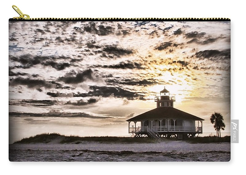 Lighthouse Carry-all Pouch featuring the photograph Eerie Lighthouse by Shari Jardina