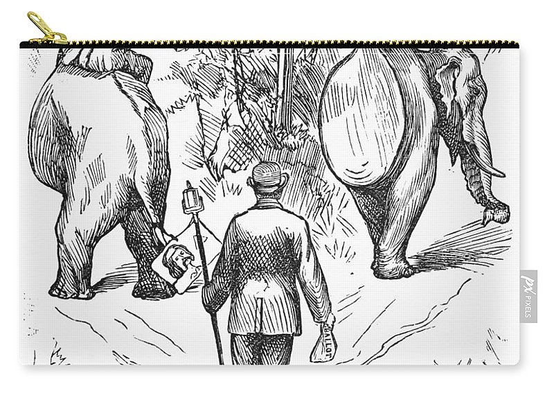 1884 Carry-all Pouch featuring the photograph Election Cartoon, 1884 by Granger