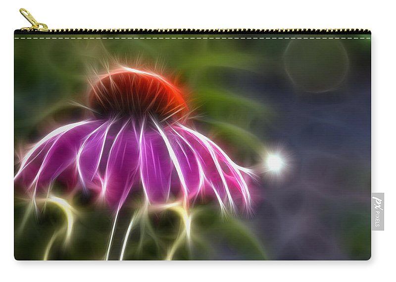 Fractal Carry-all Pouch featuring the photograph Electrified Coneflower by Lynne Jenkins