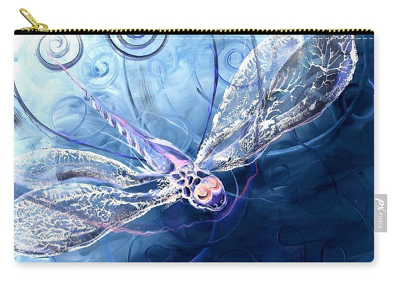 Dragonfly Carry-all Pouch featuring the painting Electrified Dragonfly by J Vincent Scarpace