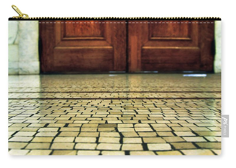 Door Carry-all Pouch featuring the photograph Elegant Door And Mosaic Floor by Jill Battaglia