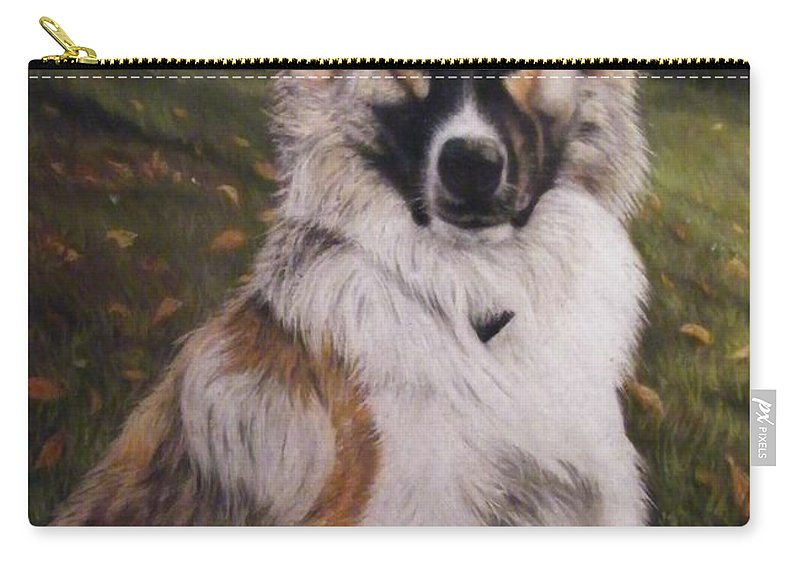German Shepard And Boarder Coilie Mix Carry-all Pouch featuring the pastel Elvis by Louise Macarthur Art and Photography