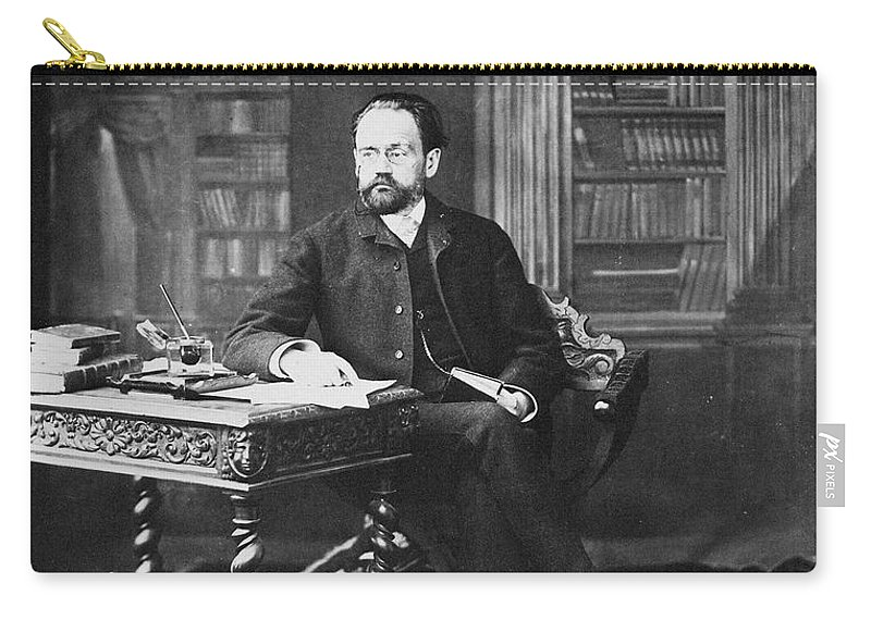 19th Century Carry-all Pouch featuring the photograph Emile Zola (1840-1902) by Granger