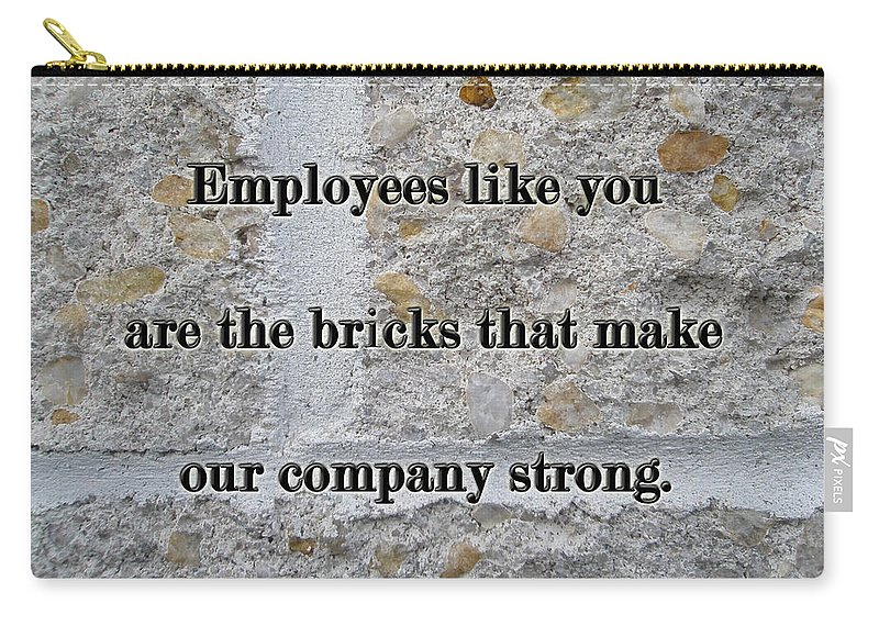 Employee Carry-all Pouch featuring the photograph Employee Service Anniversary Thank You Card - Cement Wall by Mother Nature