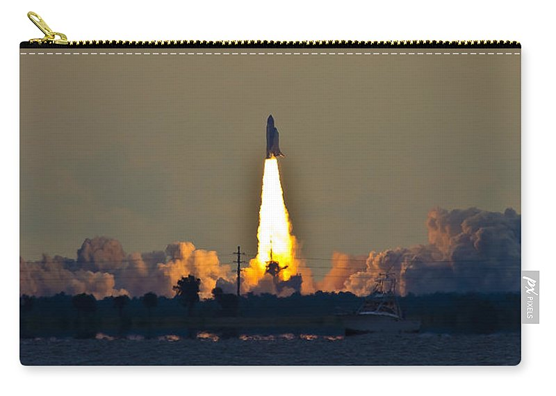 Endeavor Carry-all Pouch featuring the photograph Endeavor Blast Off by Dorothy Cunningham