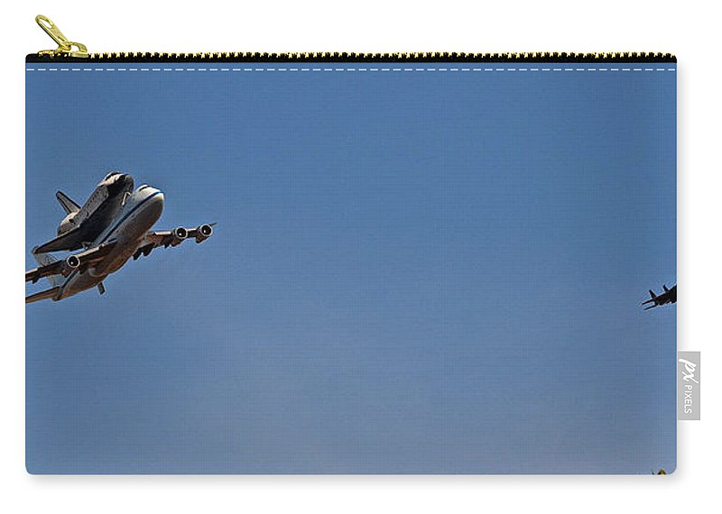 Endeavour Carry-all Pouch featuring the photograph Endeavour's Last Flight With Chase Plane by Bill Owen
