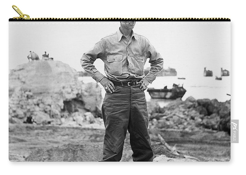 1942 Carry-all Pouch featuring the photograph Ernie Pyle (1900-1945). American Journalist. Photograph, C1942 by Granger