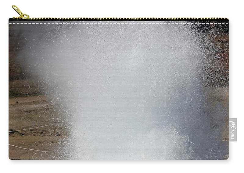 Spraying Carry-all Pouch featuring the photograph Eruption Of Strokkur Geysir, Iceland by Richard Roscoe