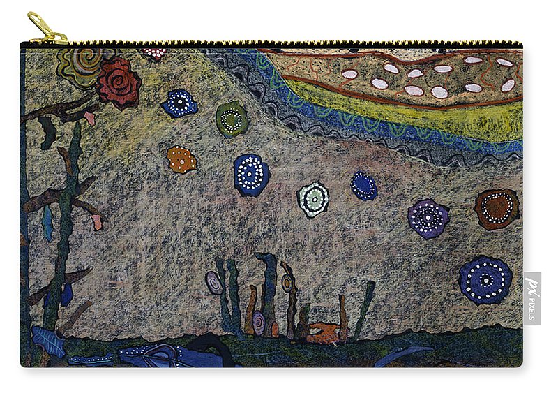Pat Saunders-white Carry-all Pouch featuring the mixed media Escaping Death by Pat Saunders-White