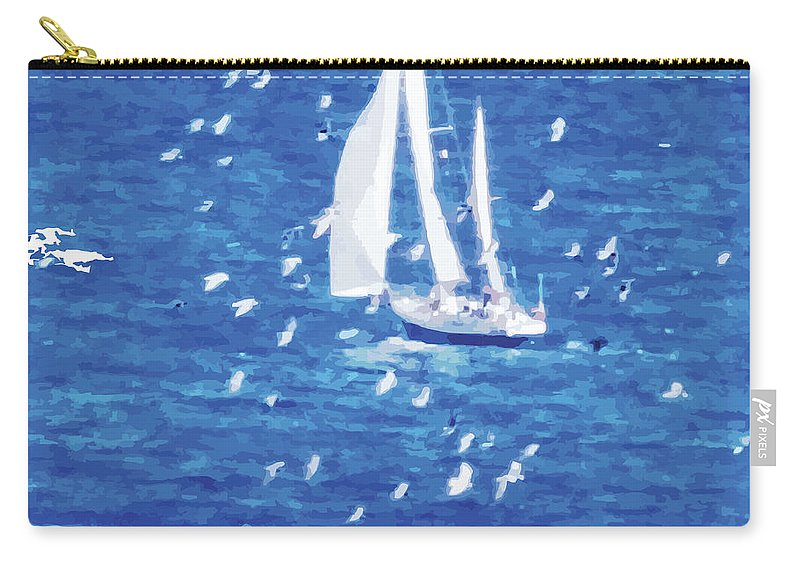 Sailing Carry-all Pouch featuring the digital art Escorted By Seagulls by Alfie Borg