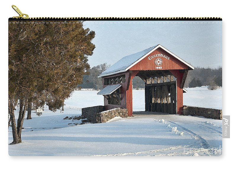 Covered Bridge Carry-all Pouch featuring the photograph Essenhause Covered Bridge by David Arment