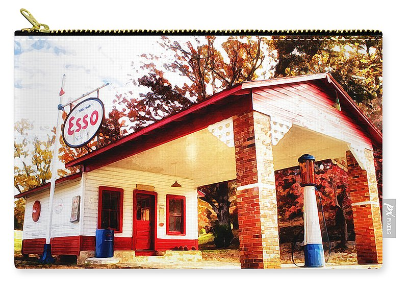 Esso Carry-all Pouch featuring the painting Esso Filling Station by Lynne Jenkins