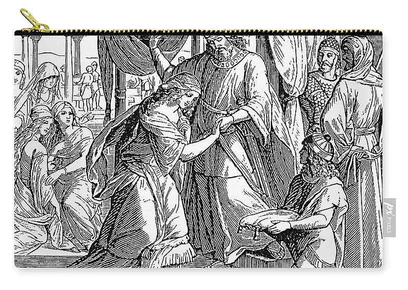 1884 Carry-all Pouch featuring the photograph Esther & Ahasuerus by Granger