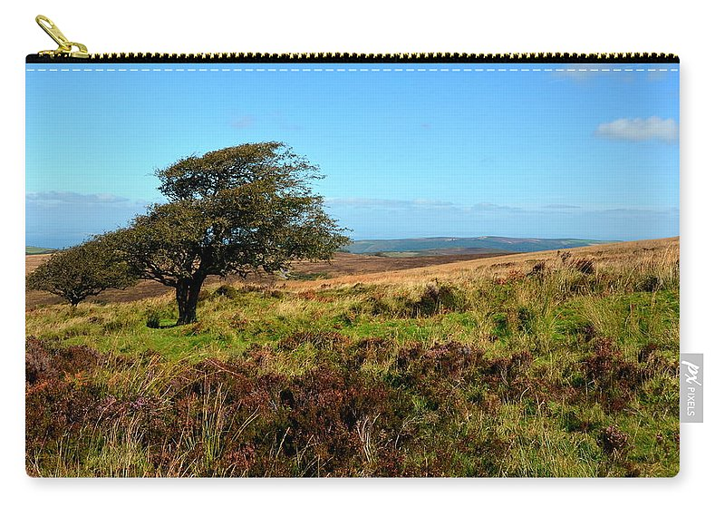 Heather Carry-all Pouch featuring the photograph Exmoor's Heather-covered Hills by Carla Parris
